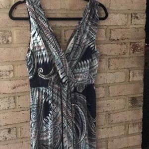 Maxi Sun Dress navy, turquoise, black L NWT